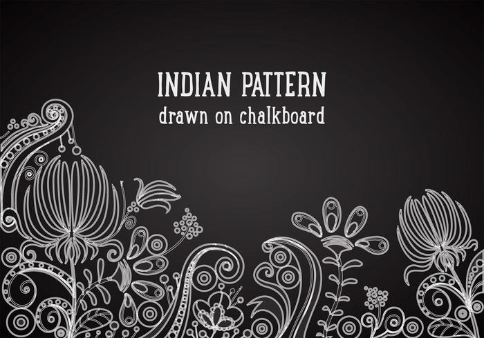 Indian Pattern On Blackboard Vector Background