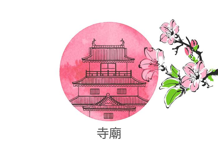 Free Drawn Chinese Temple Vector