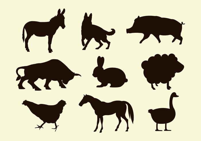 Silhouettes of Farm Animal Vectors