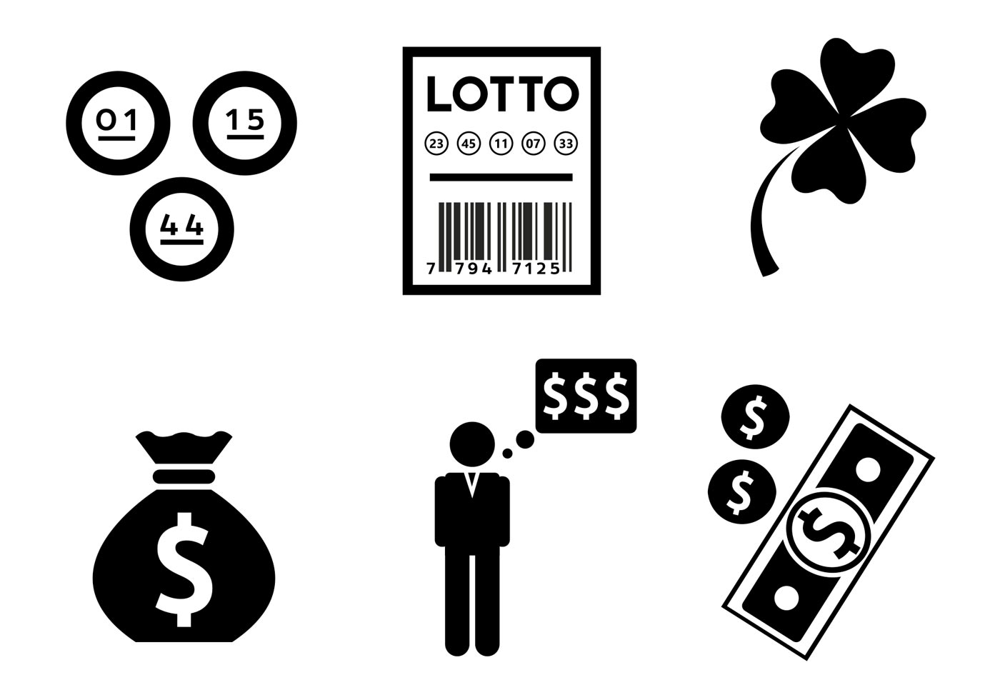 Lottery Themed Vector Icons - Download Free Vectors, Clipart