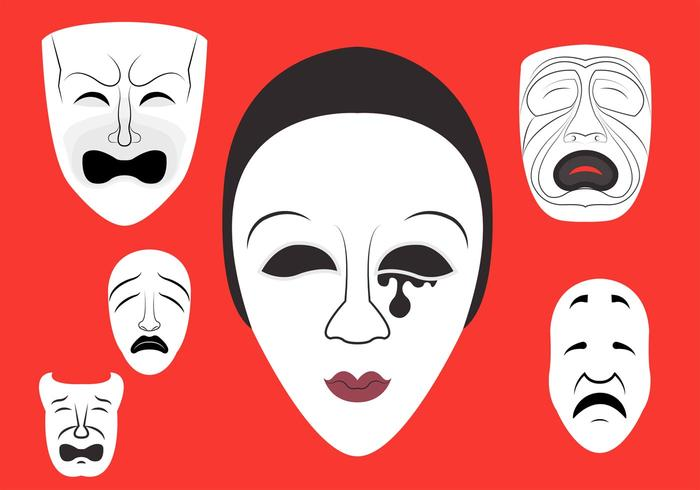Vector Illustration Of Theatre Masks Theatermasken Happy Sad Stock Photo