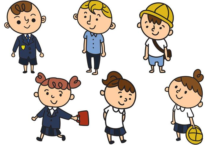 Schulkinder in Uniform Cartoon Vektoren
