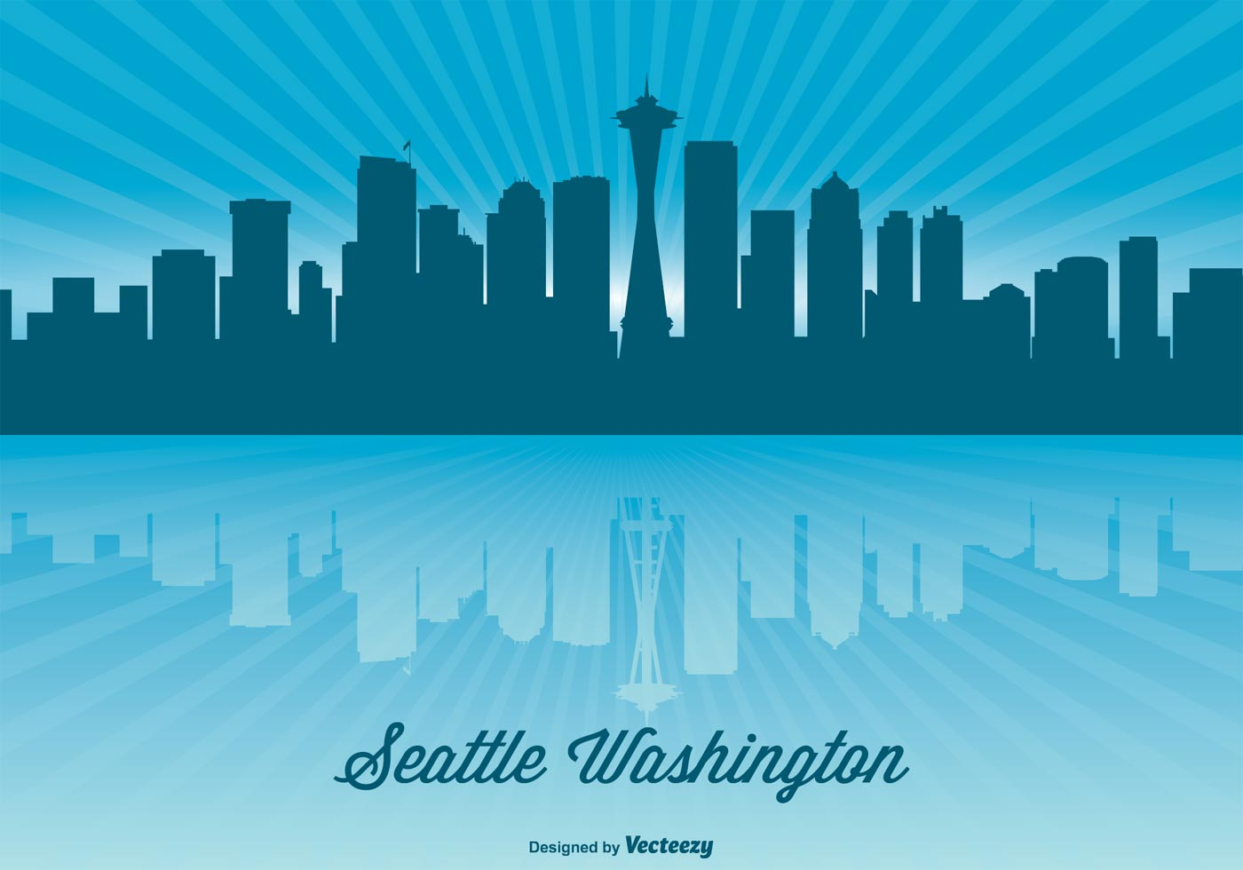 seattle skyline illustration download free vector art Los Angeles Palm Trees Chicago Skyline Vector