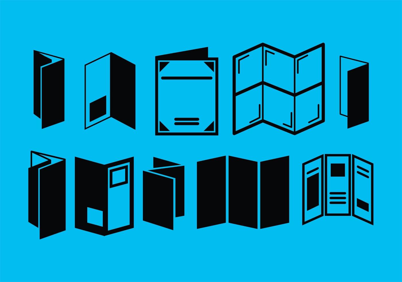 tri fold brochure vector icons