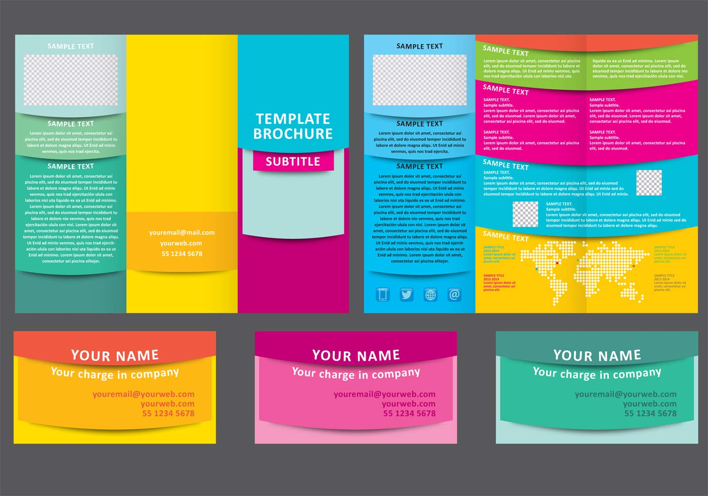 Colorful fold brochure vector template download free for Colorful brochure design