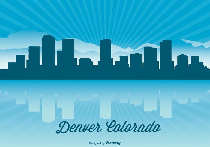 Denver Colorado Skyline Illustration