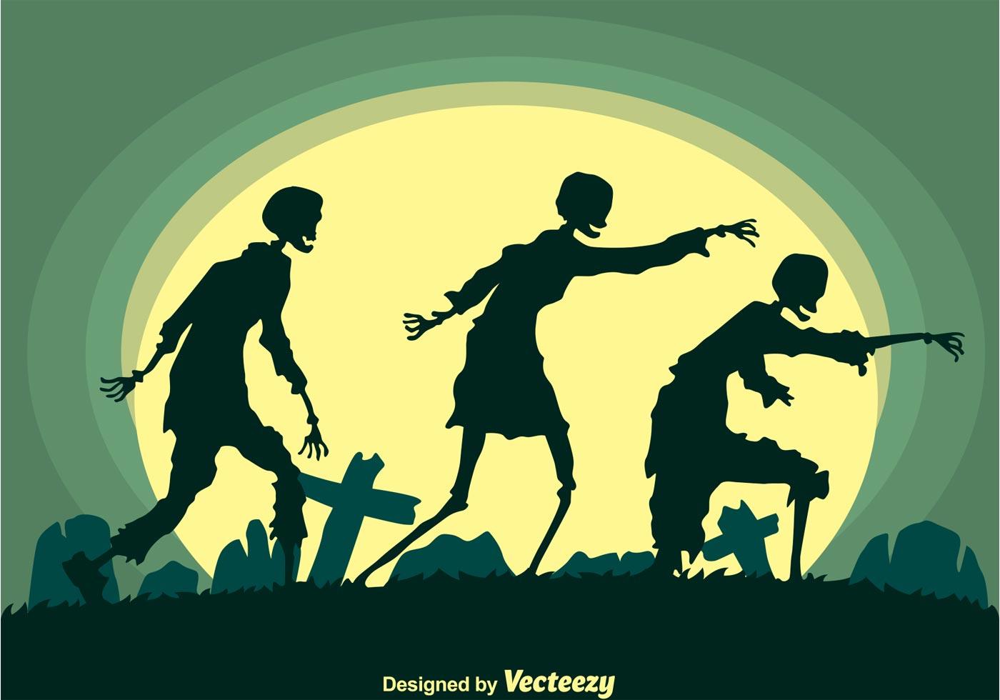 Walking Zombies Silhouette Vector Download Free Vector