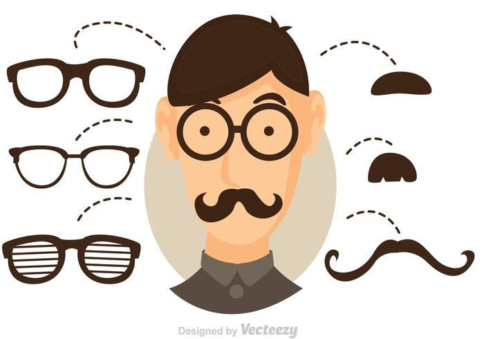 Vector Cool Dude With Glasses And Mustache