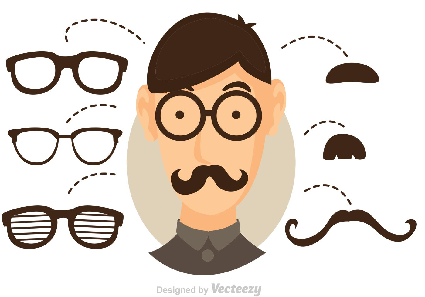 Cartoon Glasses And Mustache