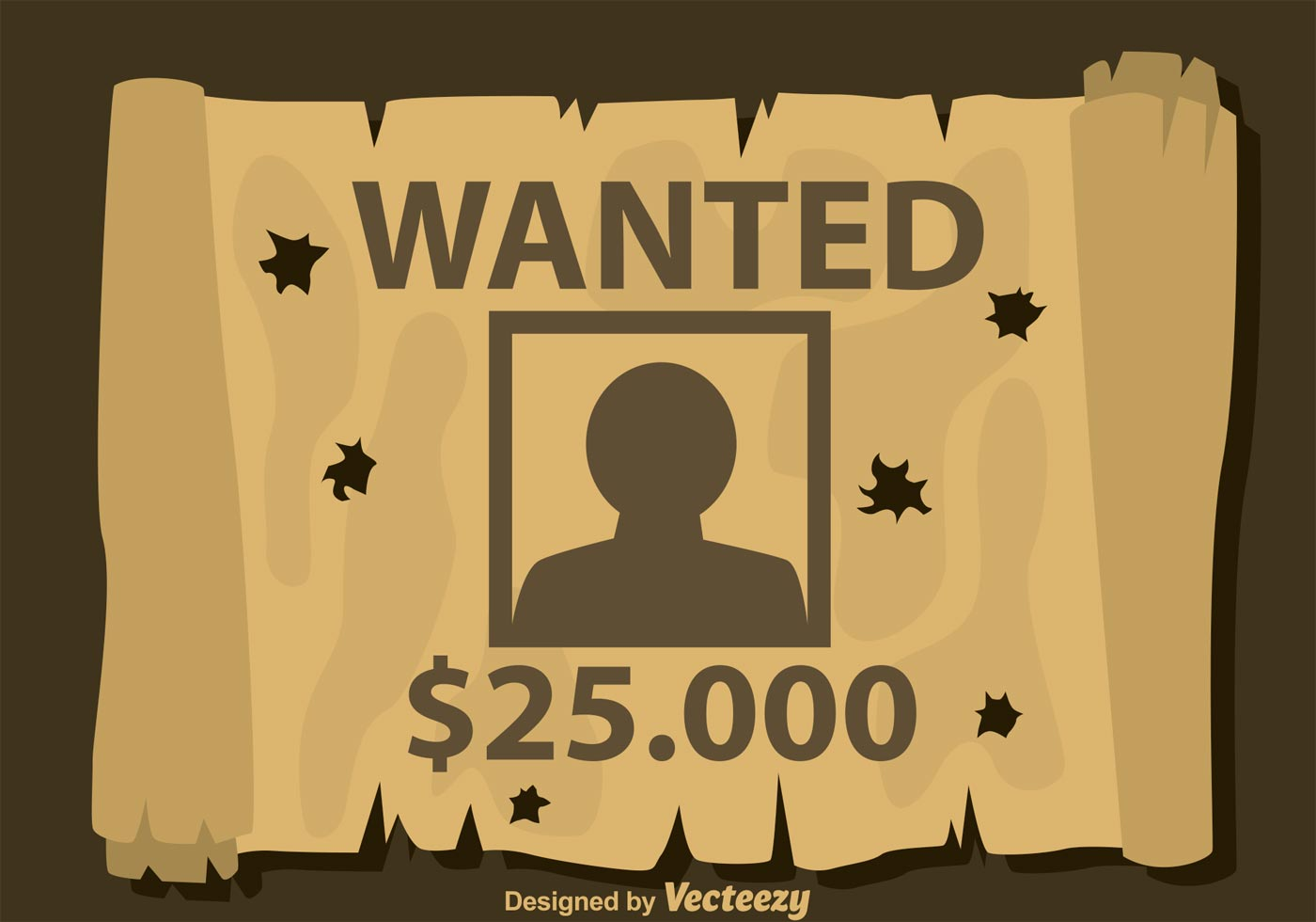 Bullet Holes On Wanted Poster   Download Free Vector Art, Stock Graphics U0026  Images  Free Wanted Poster Template