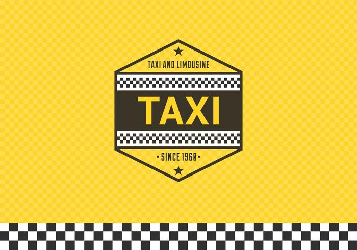 Taxi Label With Checkered Background