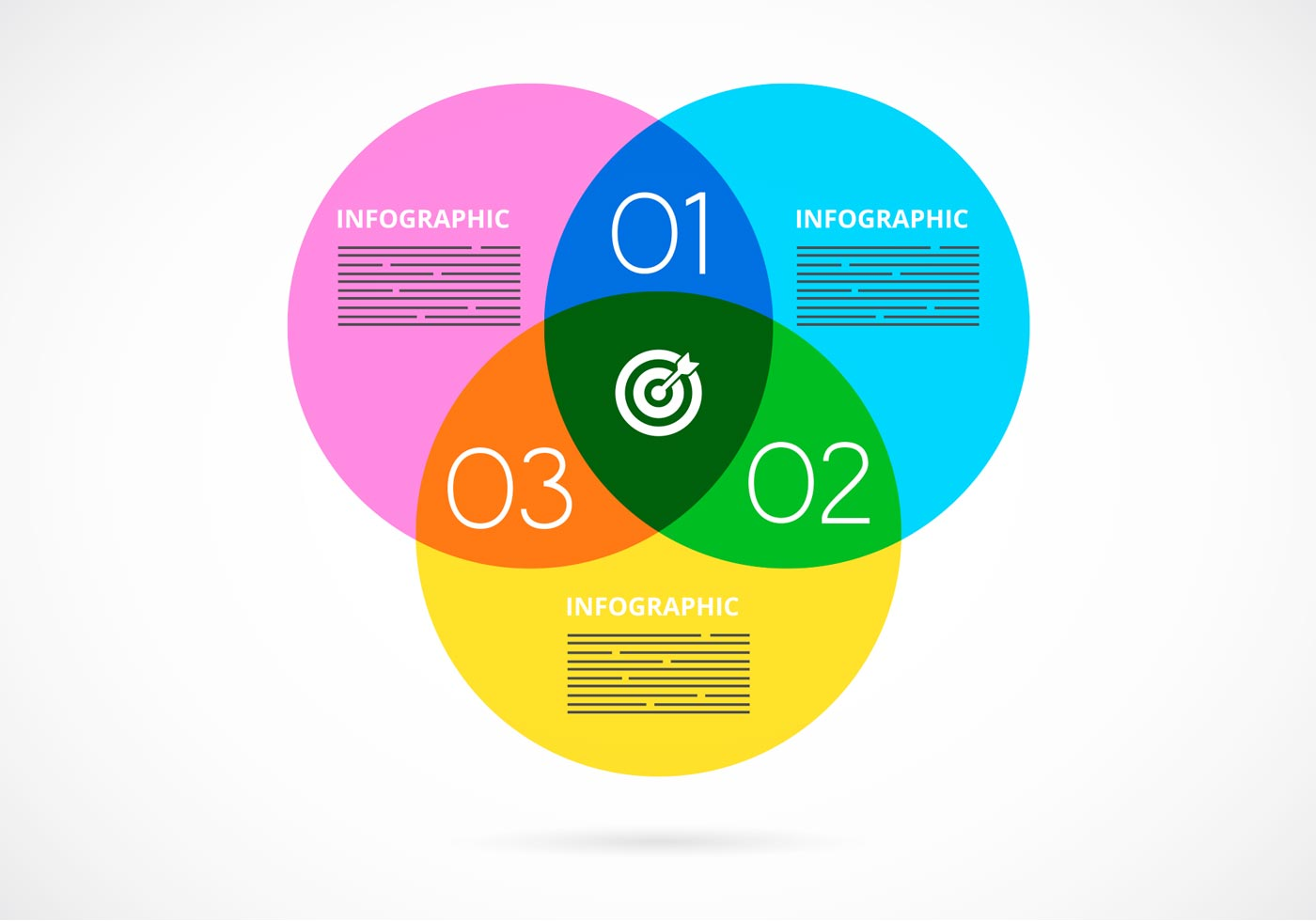 Free Vector Watercolor Venn Diagram Infographic - Download Free Vector ...