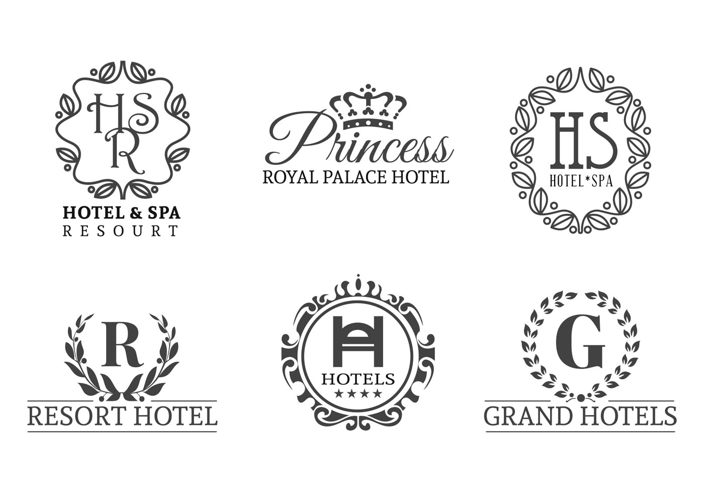 free-hotels-vector-logo-set Free Royal Letter Template on royal old english font, british mail box templates, royal wedding invitation, printable alphabet letters templates,