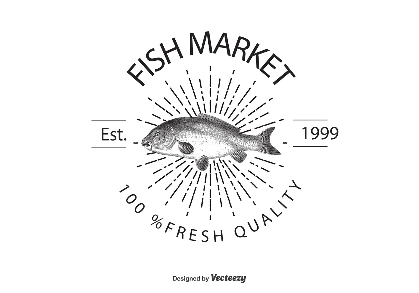 vintage fish market logo template download free vector art stock graphics images. Black Bedroom Furniture Sets. Home Design Ideas