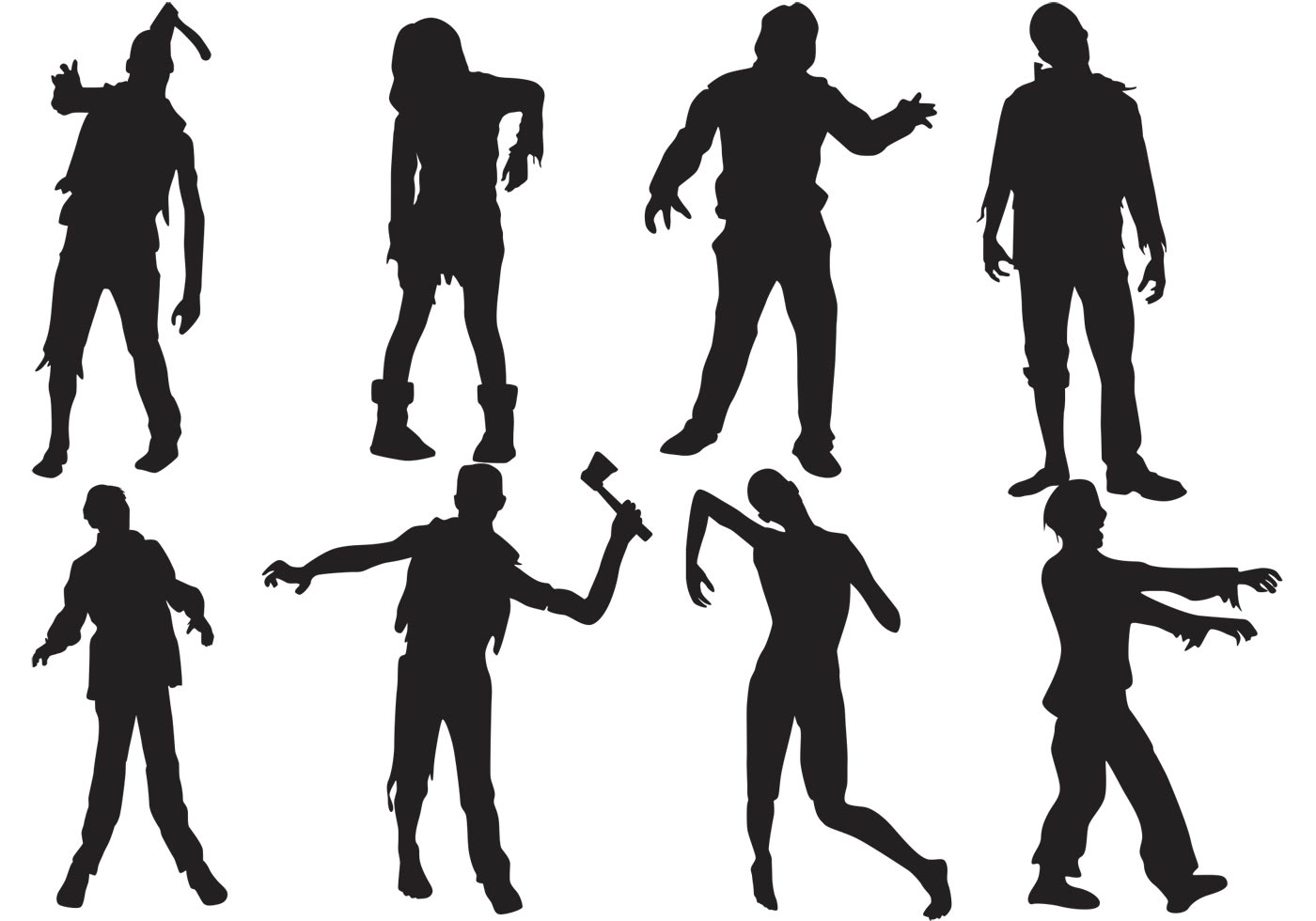 Zombie Silhouettes Vector - Download Free Vectors, Clipart ...