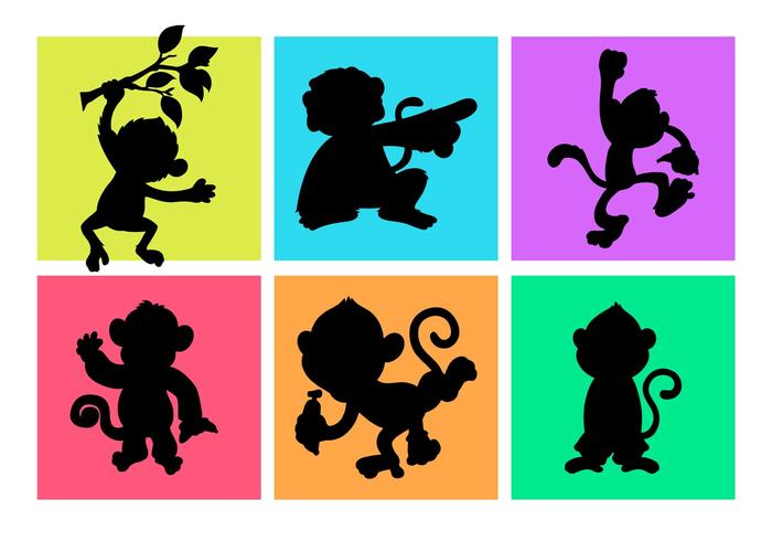 Cartoon Monkeys Silhouettes Free vector
