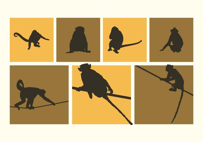 Various Monkeys Silhouettes Vector Free