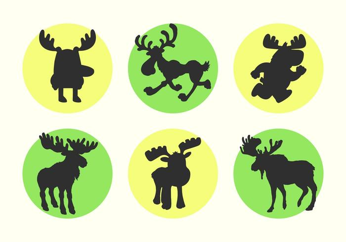 Cartoon Moose Vector Silhouettes