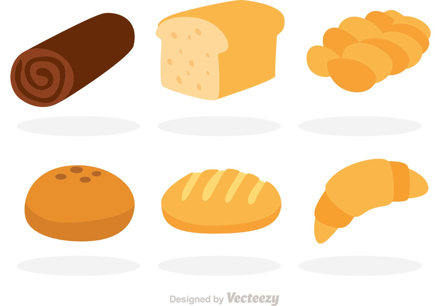 Vector Bread Flat Icons Download Free Vector Art Stock