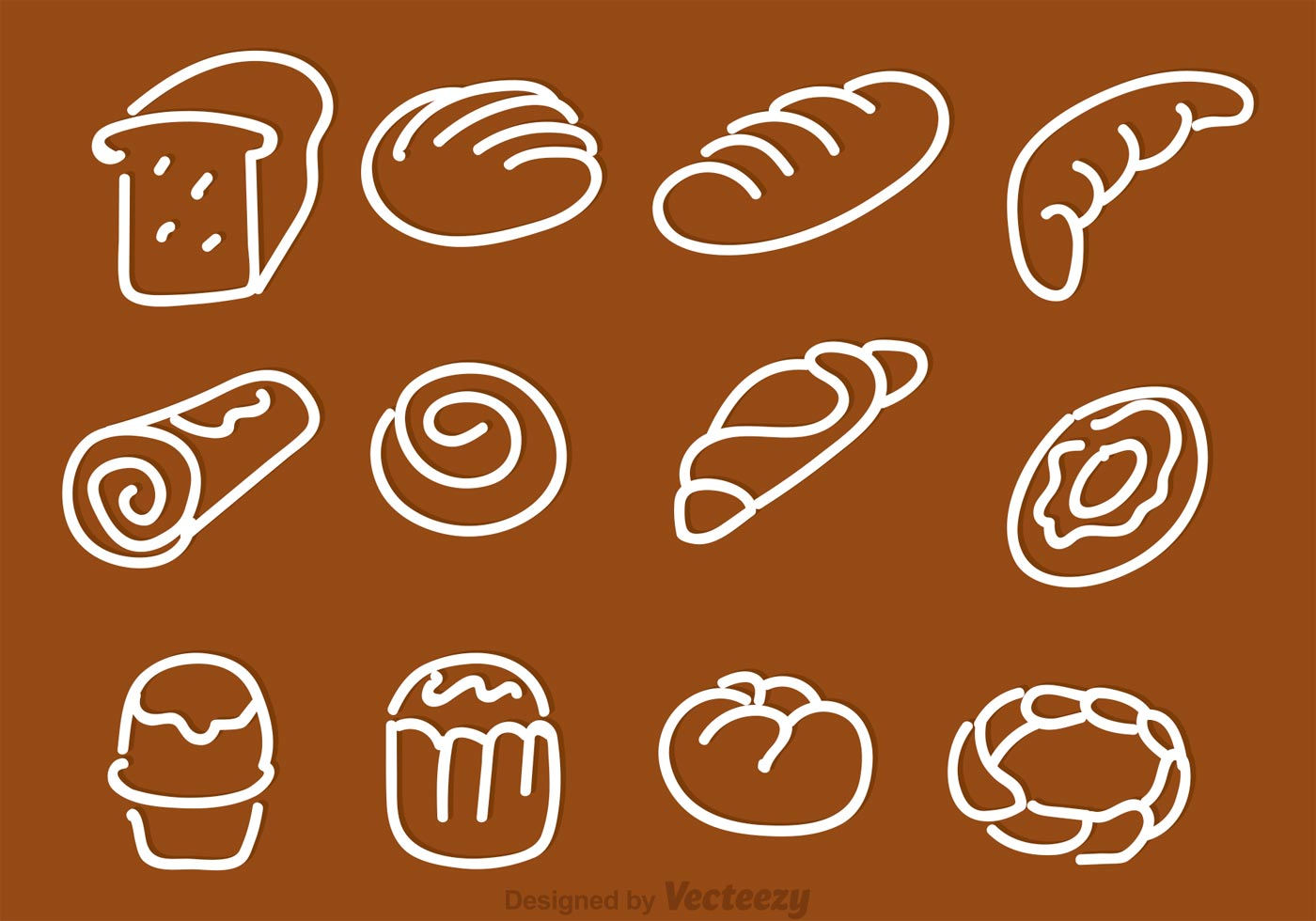 hand drawn bread vector icons