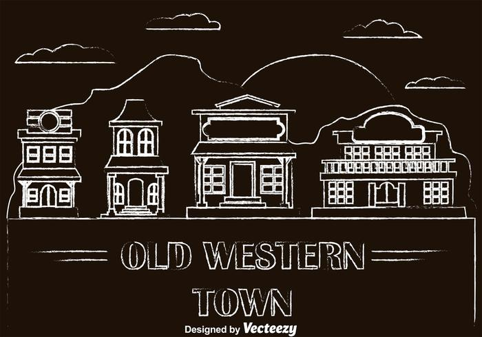 Chalk Drawn Old Western Town Vectors