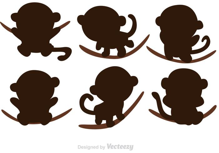Cartoon Monkey Silhouette Vectors
