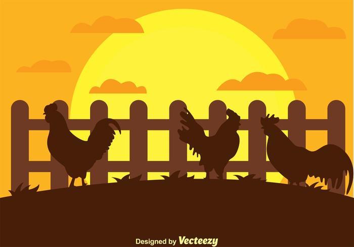 Silueta de gallo en un vector de la granja