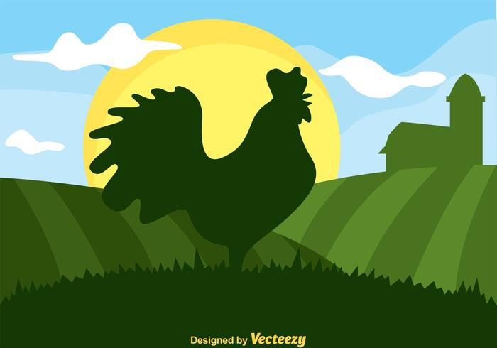 Rooster Silhouette In Green Hills