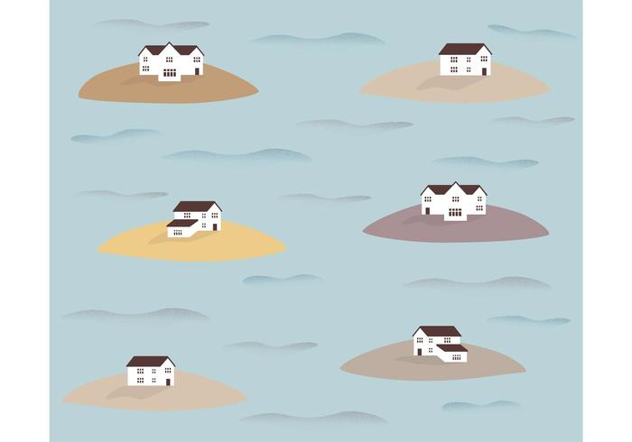 Houses on Islands Pattern Vector