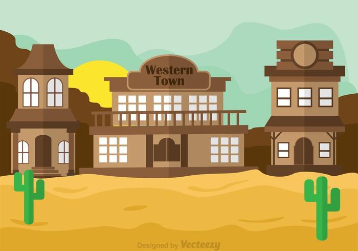 Western Town Vector Scene
