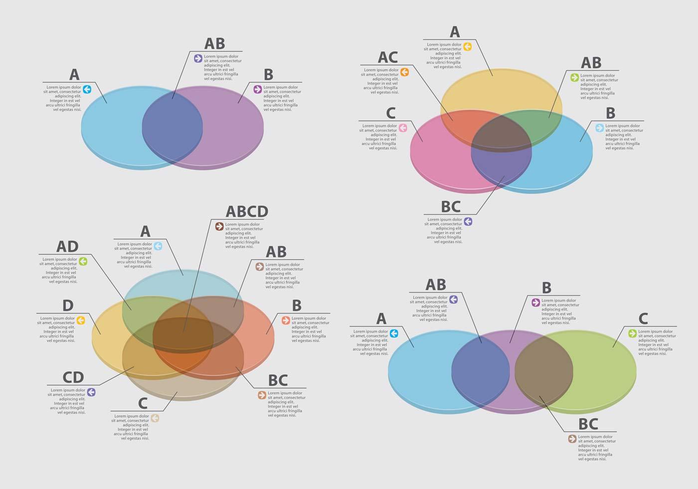 3d Venn Diagram Vectors