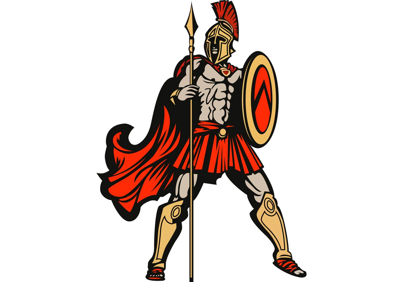 Free Vector Spartan With Spear And Shield Download Free