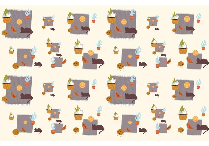 Plants, Cats and Food Pattern