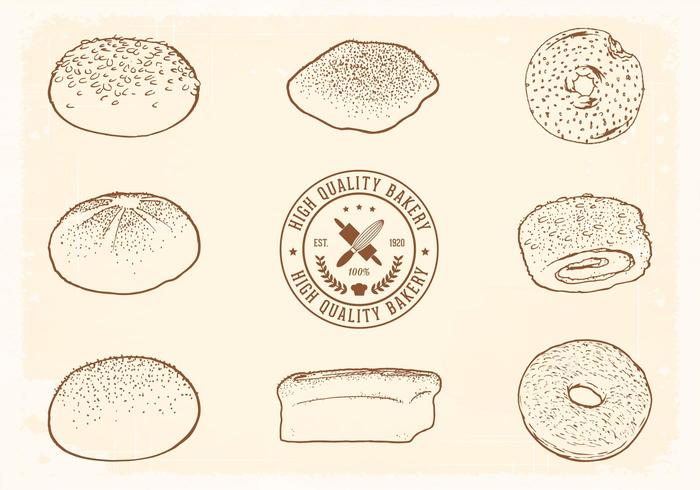 Free Hand Drawn Bread Vector Set
