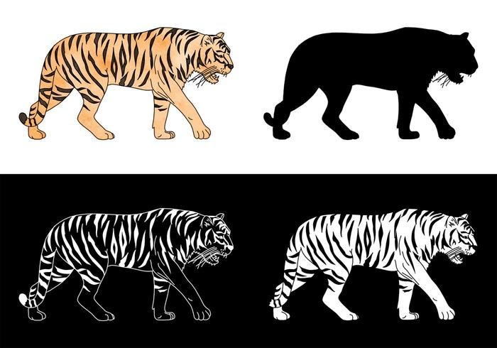 Free Tiger Silhouette Vector Set