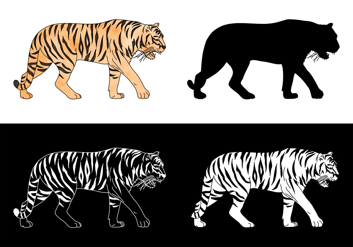 Free Tiger Silhouette Vector Set Download Free Vector