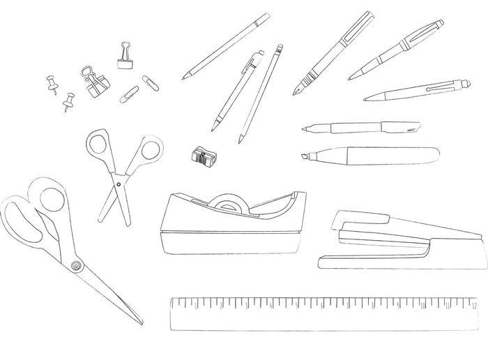 Desk Accessories Line Drawing Vectors