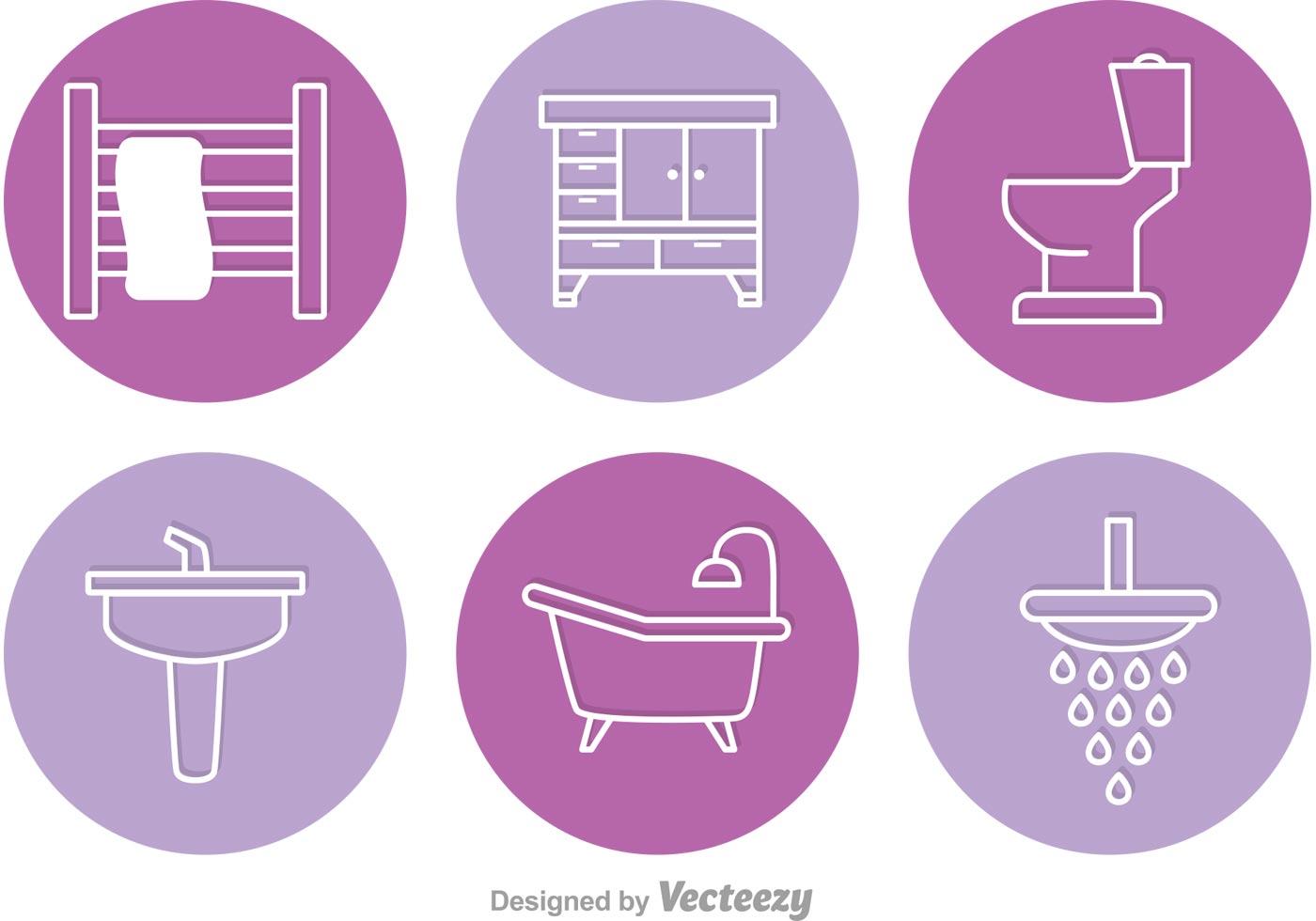 Circle Bathroom Vector Icons Download Free Vector Art
