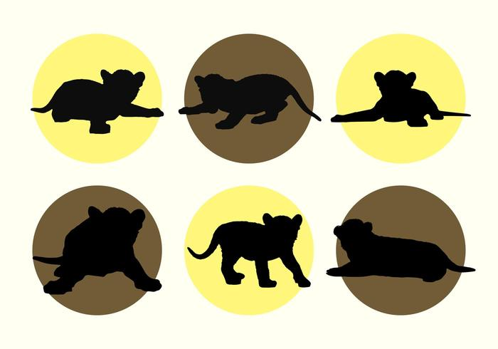 Baby Tigers Vector Silhouettes