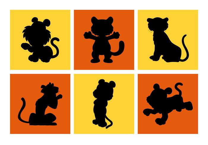 Cartoon Tiger Silhouettes Vector Free