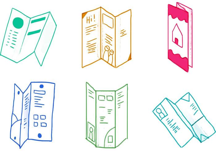 Trifold Brochure Icon Set