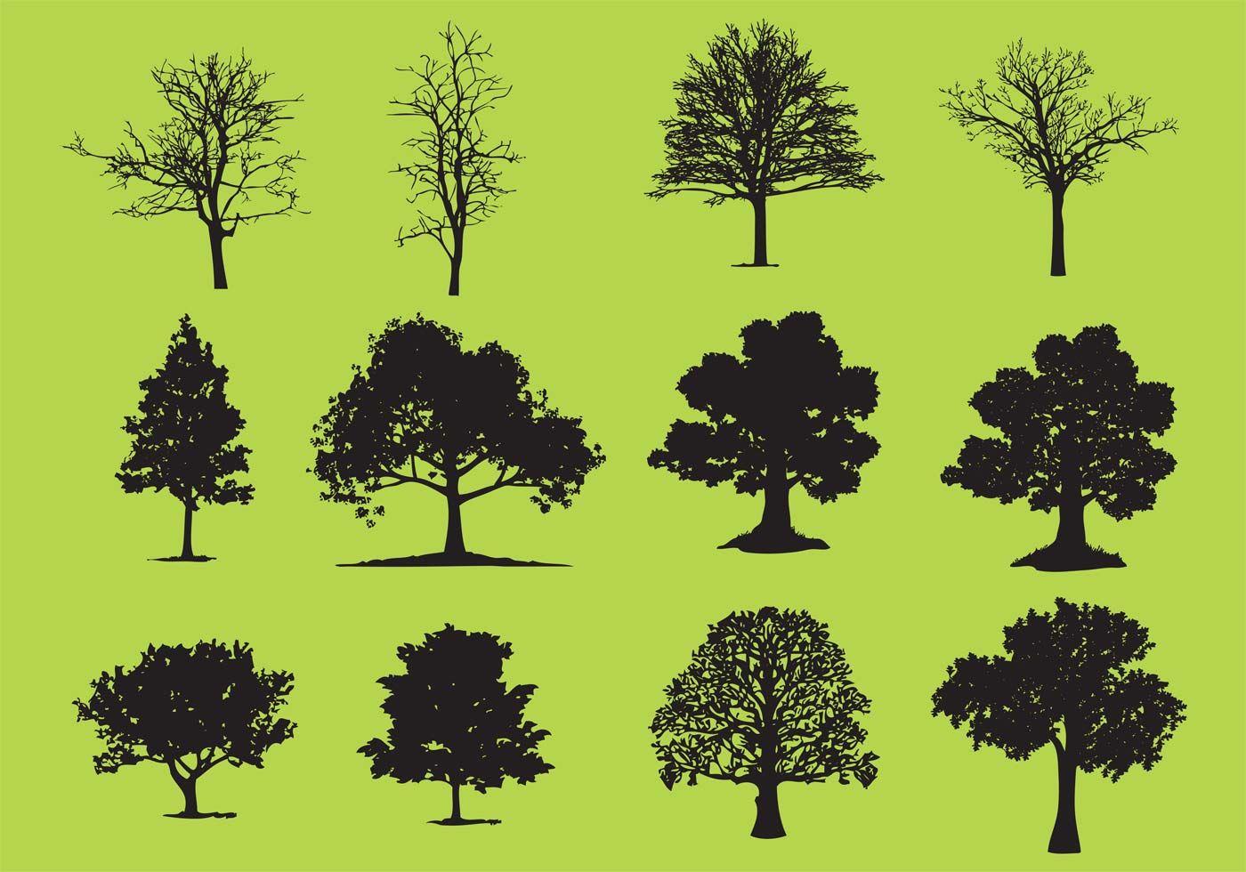 Oak Tree Vector Free Download Tree Silhouette Free V...