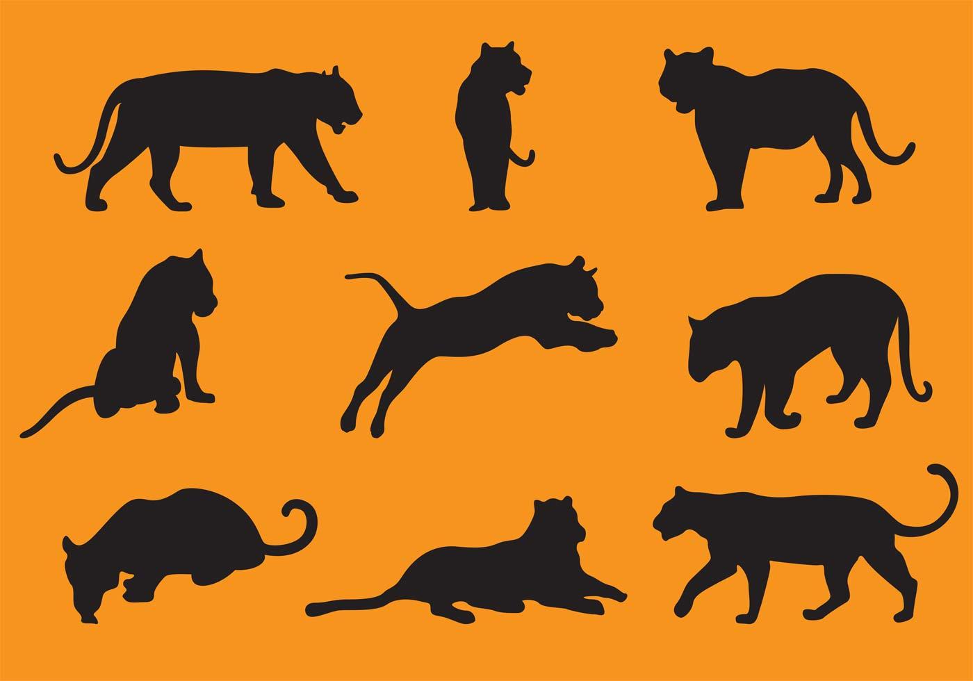 Tiger Silhouette Vectors Download Free Vector Art Stock