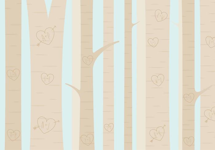 Heart Carved Tree Forest Vector