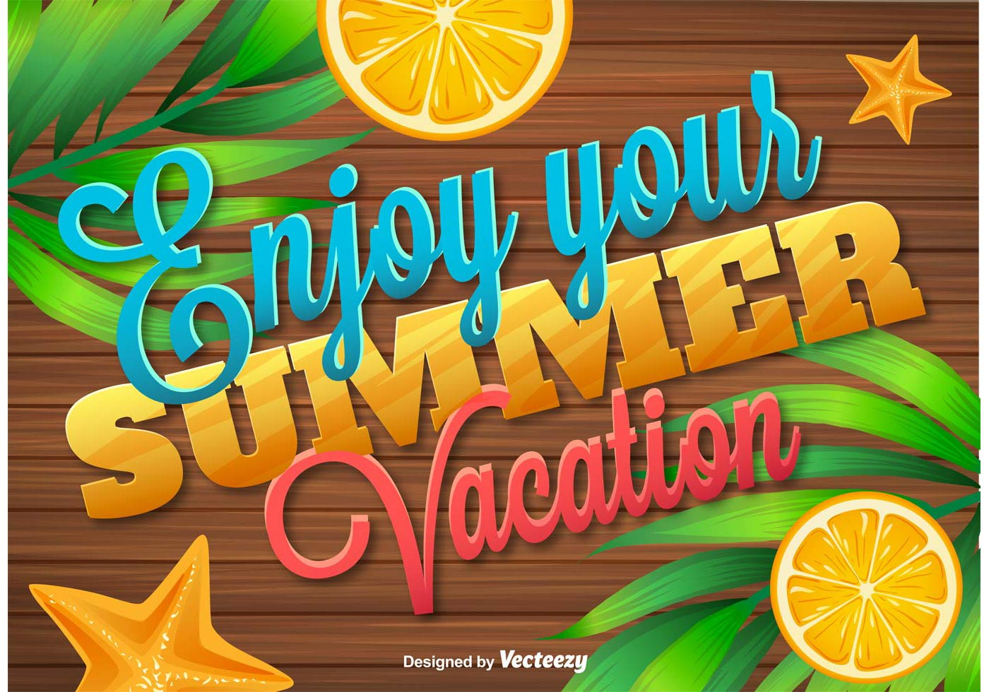 Enjoy Tropical Summer Holidays Backgrounds Vector 04 Free: Enjoy Summer Vacations Wooden Background