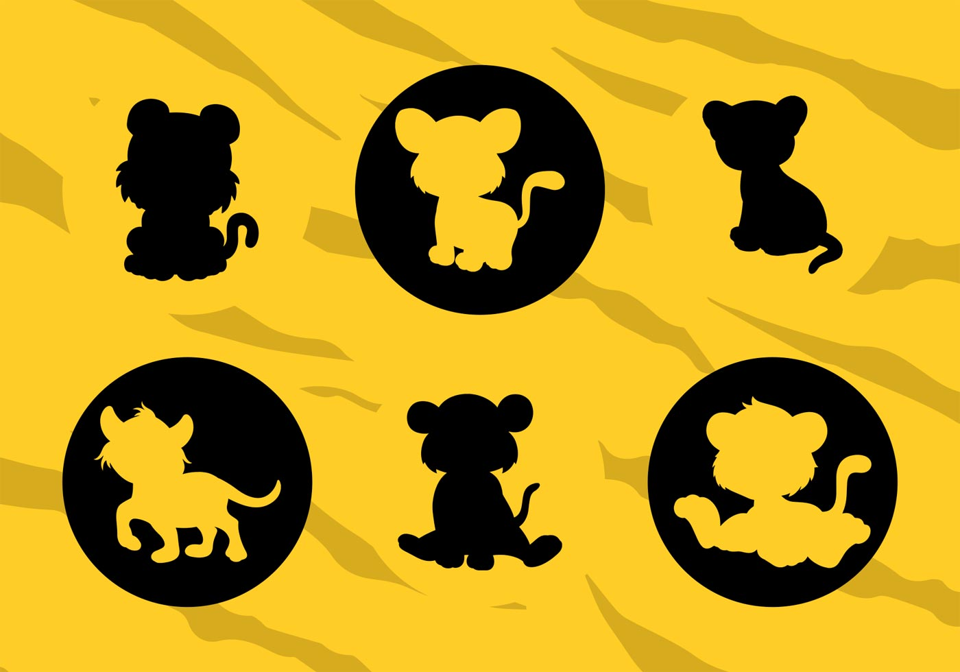 Vector Silhouettes Of Cartoons Baby Tigers Download Free