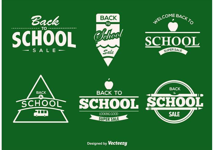 Étiquettes typographiques de retour à l'école