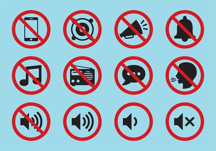 Icônes de vecteur de silence