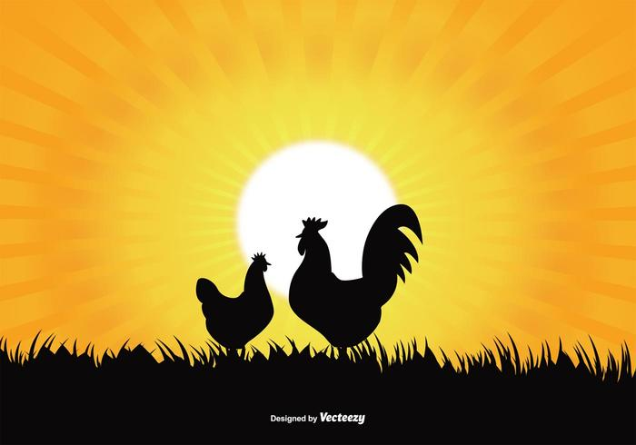 Rooster Silhouette Illustration vector