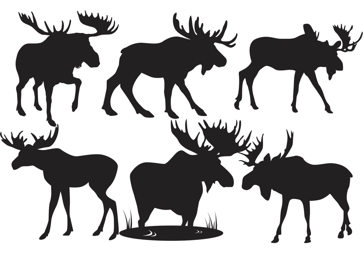 moose silhouettes moose silhouette vectors download free vector art stock 6000